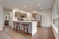 Νέο σύγχρονο διαμέρισμα με την γκρίζα κουζίνα Στοκ φωτογραφίες με δικαίωμα ελεύθερης χρήσης