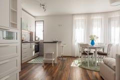 Νέο σύγχρονο καθιστικό με την κουζίνα σπίτι νέο Εσωτερική φωτογραφία πάτωμα ξύλινο Στοκ φωτογραφία με δικαίωμα ελεύθερης χρήσης