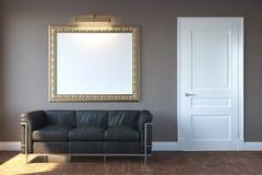 Νέο σύγχρονο καθιστικό με τον καναπέ και το πλαίσιο Στοκ Φωτογραφίες