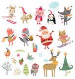 Νέο σύνολο χειμερινής συλλογής Χριστουγέννων έτους διανυσματικό χαριτωμένων χαρακτήρων Στοκ Εικόνα