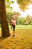 Νέο τέντωμα γυναικών δίπλα σε ένα δέντρο στο ηλιοβασίλεμα Στοκ φωτογραφίες με δικαίωμα ελεύθερης χρήσης