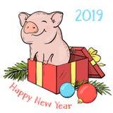 Νέο το 2019 κινεζικό έτος χοίρων Μια κάρτα με έναν αστείο χοίρο στις σφαίρες δώρων κιβωτίων και Χριστουγέννων Ζωηρόχρωμο διάνυσμα διανυσματική απεικόνιση