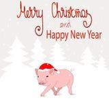 Νέο το 2019 κινεζικό έτος χοίρων Μια κάρτα με έναν αστείο χοίρο στο καπέλο Santa ` s και ένα χειμερινό τοπίο Ζωηρόχρωμο διάνυσμα ελεύθερη απεικόνιση δικαιώματος