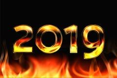 Νέο το 2019 σε ένα μαύρο υπόβαθρο Τα εγκαύματα πυρκαγιάς από κάτω από τρισδιάστατος σχετικά με διανυσματική απεικόνιση