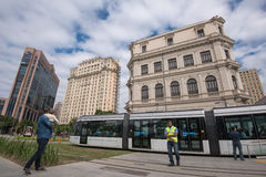 Νέο τραμ VLT στην πόλη Στοκ Εικόνες