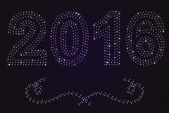 Νέο υπόβαθρο έτους 2016 από τα φωτεινά αστέρια και τους στροβίλους ελεύθερη απεικόνιση δικαιώματος