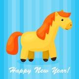 Νέο υπόβαθρο έτους με το αστείο άλογο κινούμενων σχεδίων Στοκ Φωτογραφία