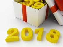 2018 νέο υπόβαθρο έτους με το δώρο Στοκ Εικόνες