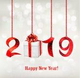 2019 νέο υπόβαθρο ετών με το δώρο απεικόνιση αποθεμάτων