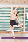 Νέο φίλαθλο τέντωμα γυναικών στη γυμναστική Στοκ Εικόνες