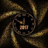 2017 νέο χρυσό υπόβαθρο έτους με το ρολόι επίσης corel σύρετε το διάνυσμα απεικόνισης Στοκ εικόνες με δικαίωμα ελεύθερης χρήσης