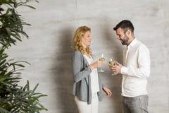 Νέο ψήσιμο ζευγών με το άσπρο κρασί μπροστά από τον γκρίζο τοίχο Στοκ Εικόνες