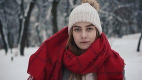 Νέο όμορφο κορίτσι μέσα στα θερμά ενδύματα που περπατούν κοντά στα χριστουγεννιάτικα δέντρα και που εξετάζουν τη κάμερα Κορίτσι π απόθεμα βίντεο