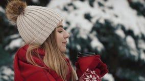 Νέο όμορφο κορίτσι μέσα στα θερμά ενδύματα που στέκονται κοντά στα χριστουγεννιάτικα δέντρα στο χιόνι που πίνει το καυτό ποτό από φιλμ μικρού μήκους