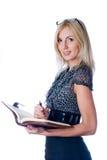 Νέο όμορφο κορίτσι με το κούτσουρο ημερολογίων Στοκ φωτογραφία με δικαίωμα ελεύθερης χρήσης