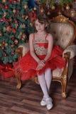 Νέο όμορφο κορίτσι σε ένα κόκκινο φόρεμα στοκ εικόνες με δικαίωμα ελεύθερης χρήσης