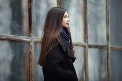 Νέο όμορφο κορίτσι σε ένα μαύρο παλτό και μπλε μαντίλι για μια τοποθέτηση στο πάρκο φθινοπώρου/άνοιξης Ένα κομψό κορίτσι brunette Στοκ Εικόνες