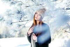 Νέο, όμορφο κορίτσι το χειμώνα υπαίθρια Στοκ Εικόνα