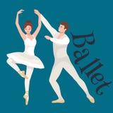 Νέο όμορφο κορίτσι χορευτών και αγόρι, άνδρας ζευγών και μπαλέτο χορού γυναικών, χορός ballerina κομψότητας που απομονώνεται στο  Στοκ φωτογραφία με δικαίωμα ελεύθερης χρήσης