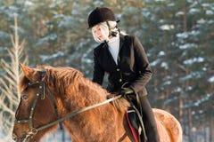 Νέο όμορφο jockey κοριτσιών που οδηγά ένα άλογο στο χειμερινό δάσος Στοκ Εικόνες