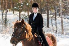 Νέο όμορφο jockey κοριτσιών που οδηγά ένα άλογο στο χειμερινό δάσος Στοκ Εικόνα