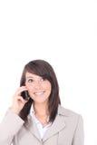 Νέο brunette με το τηλέφωνο στοκ εικόνες με δικαίωμα ελεύθερης χρήσης