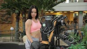 Νέο brunette που κάνει την άσκηση μπουκλών αλτήρων στη γυμναστική φιλμ μικρού μήκους