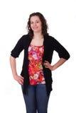 Νέο Brunette στη ζωηρόχρωμη μπλούζα Στοκ εικόνα με δικαίωμα ελεύθερης χρήσης