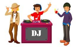 Νέο DJ που αναμιγνύει τη μουσική στις περιστροφικές πλάκες στη σκηνή του επίπεδου σχεδίου νυχτερινών κέντρων διασκέδασης διανυσματική απεικόνιση