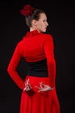 Νέο flamenco χορού γυναικών με τις καστανιέτες Στοκ Εικόνες