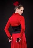 Νέο flamenco χορού γυναικών με τις καστανιέτες Στοκ Εικόνα