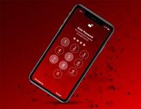 Νέο iphone Χ στο κόκκινο baground επίσης corel σύρετε το διάνυσμα απεικόνισης Στοκ Εικόνα