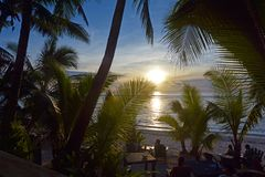 Νήσοι Rarotonga Κουκ τοπίων ηλιοβασιλέματος Στοκ φωτογραφίες με δικαίωμα ελεύθερης χρήσης