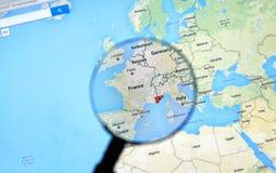 Νίκαια, Γαλλία στο Google Maps Στοκ Εικόνα