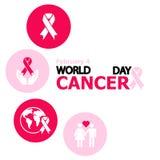 Νίκαια και όμορφη περίληψη για την ημέρα παγκόσμιου καρκίνου με τη συμπαθητική και δημιουργική απεικόνιση συμβόλων σε ένα κόκκινο Στοκ Εικόνες
