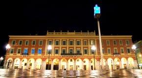 Νίκαια - Plaza Massena τη νύχτα Στοκ Φωτογραφίες