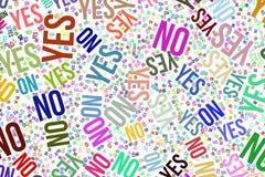 Ναι ή όχι, σύσταση ή υπόβαθρο για το κίνητρο ή την ενθάρρυνση διανυσματική απεικόνιση