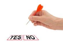 Ναι απόφαση αριθ. Χέρι το βέλος, που απομονώνεται με πέρα από το whi Στοκ Φωτογραφίες