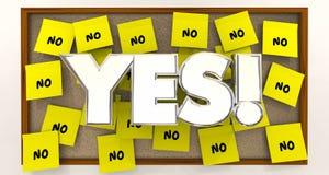 Ναι εναντίον καμίας υπερνικημένης κολλώδους σημείωσης αντιρρήσεων ελεύθερη απεικόνιση δικαιώματος