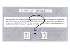 ΝΑΙ ιταλικό ψηφοδέλτιο αριθ. ΊΣΩΣ Στοκ Φωτογραφίες