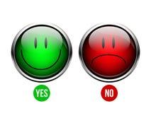 Ναι, κανένα κουμπί Στοκ Εικόνα