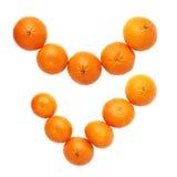 Ναι σημάδι κροτώνων φιαγμένο από πολλαπλάσια juicy tangerines που απομονώνονται πέρα από το άσπρο υπόβαθρο, τοπ άποψη Στοκ Φωτογραφία