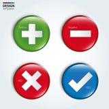 Ναι, όχι, θετικά και αρνητικά κουμπιά ελέγχου Στοκ Εικόνες
