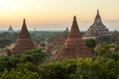 Ναοί Bagan στα πράσινα δέντρα στο ηλιοβασίλεμα Στοκ εικόνες με δικαίωμα ελεύθερης χρήσης