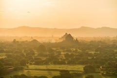 Ναοί Bagan στο ηλιοβασίλεμα, το Μιανμάρ Στοκ Φωτογραφία