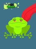 Ναρκωτικός βάτραχος Όξινος φρύνος Ναρκωτικός αμφίβιος Γλώσσα που γλείφει την αγγελία ελεύθερη απεικόνιση δικαιώματος