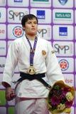 Ναταλία Kuziutina, Ρωσία με το χρυσό μετάλλιο των παγκόσμιων κυρίων 2017 τζούντου Στοκ Εικόνες
