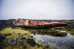 Ναυάγιο από την ακτή της Ισλανδίας μετά από μια καταστροφή Στοκ Εικόνες