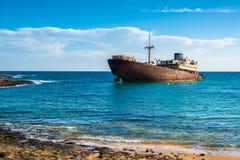 Ναυάγιο από την ακτή Arrecife Lanzarote Στοκ φωτογραφίες με δικαίωμα ελεύθερης χρήσης
