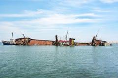 Ναυάγιο στο λιμένα mersin, Τουρκία Στοκ Φωτογραφία